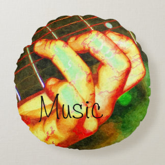 Music Guitar Theme Round Pillow
