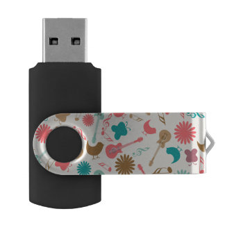 Music Guitars & Chicks Groovy Design Swivel USB 2.0 Flash Drive
