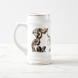 Music, harp with decorative floral elements 18 oz beer stein