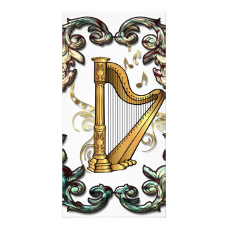 Music, harp with decorative floral elements photo card