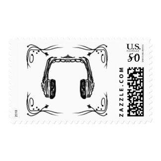 Music headphones stamp. postage