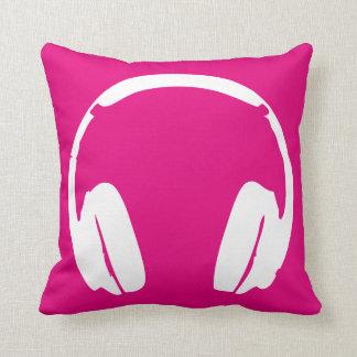 Music Headphones (White/Pink) Throw Pillow