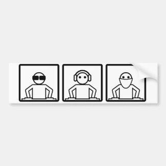 Music hears no evil dj image bumper sticker