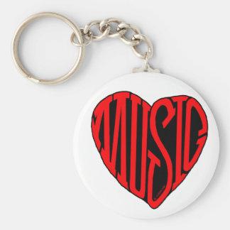 Music Heart Basic Round Button Keychain