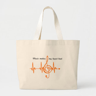 MUSIC HEART BEAT beaten Music of the heart Large Tote Bag
