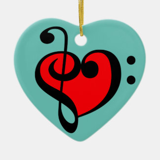 Music Heart Ceramic Ornament