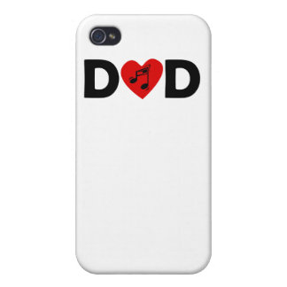 Music Heart Dad iPhone 4 Cover