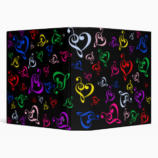 Music heart note vinyl binders