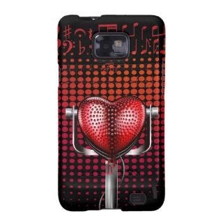 Music Heart Vintage Michrophone Samsung S2 Case Galaxy Sii Case