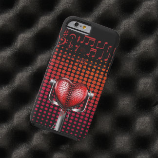 Music Heart Vintage Microphone Tough iPhone 6 Case