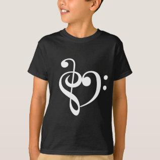 Music Heart White T-Shirt at Zazzle