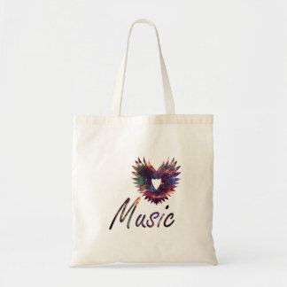 Music heart wing below nebula 1 budget tote bag