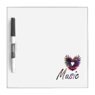 Music heart wing below nebula 1 dry erase whiteboard