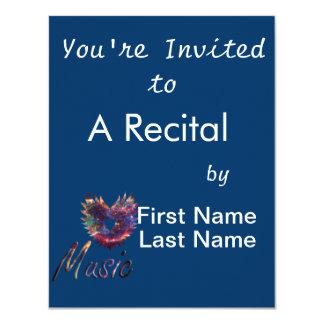 "Music heart wing below nebula 1 4.25"" x 5.5"" invitation card"