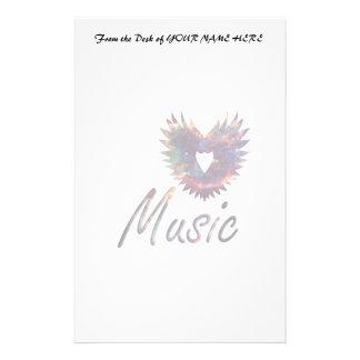 Music heart wing below nebula 1 stationery design