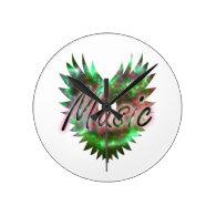 Music heart wing overly nebula 1 green pink   round wallclock