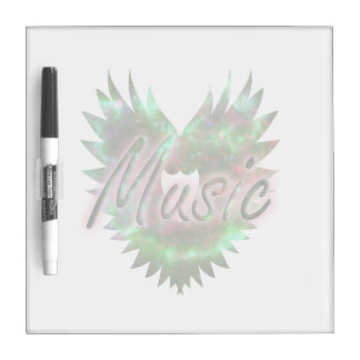 Music heart wing overly nebula 1 green pink dry erase boards