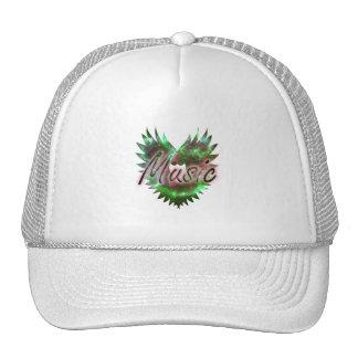 Music heart wing overly nebula 1 green pink trucker hat