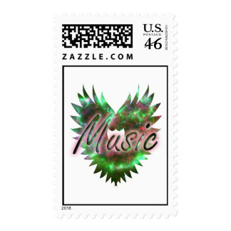Music heart wing overly nebula 1 green pink postage stamps