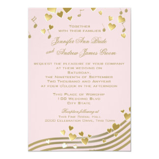 Music Hearts Pink and Gold Card
