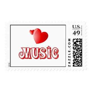 Music Hearts Postage Stamp
