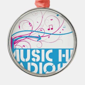 Music Hut Radio 1 items Round Metal Christmas Ornament