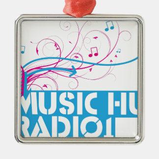 Music Hut Radio 1 items Square Metal Christmas Ornament