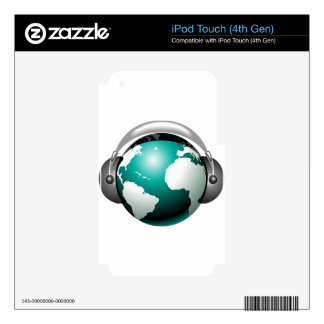 Music illustration - Globe with headphone iPod Touch 4G Skin