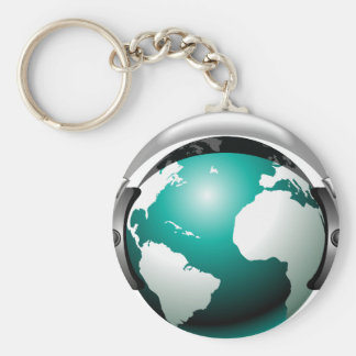 Music illustration - Globe with headphone Keychain