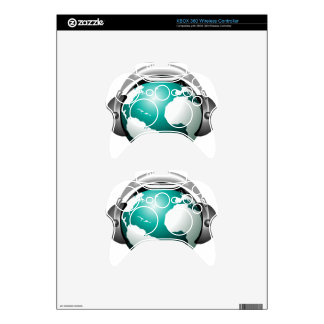 Music illustration - Globe with headphone Xbox 360 Controller Decal