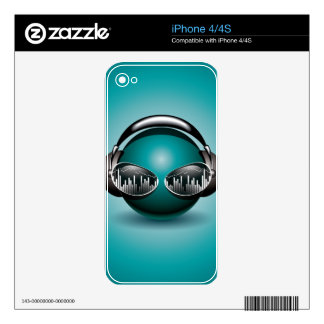 music illustration with headphone iPhone 4 decal