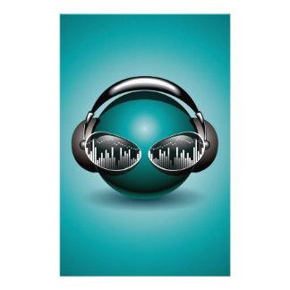music illustration with headphone stationery