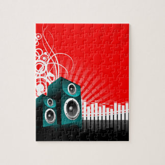 music illustration with speaker and design element jigsaw puzzles