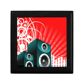 music illustration with speaker and design element keepsake box