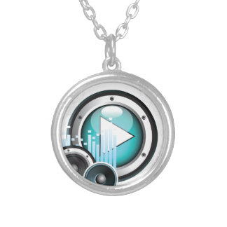 music illustration with speaker and design element round pendant necklace