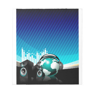 music illustration with speaker and design element notepad