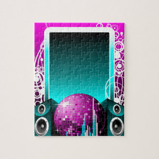 music illustration with speaker and design element puzzle