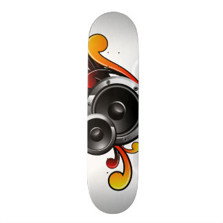 music illustration with speaker and design element skateboard