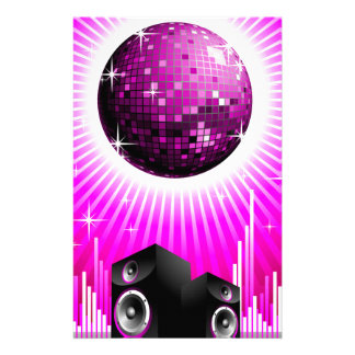 music illustration with speaker and disco ball stationery