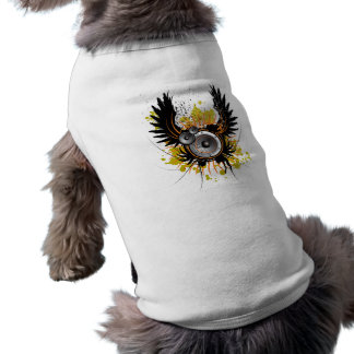 music illustration with speaker and wings dog shirt