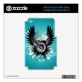 music illustration with speaker and wings iPod touch 4G skin