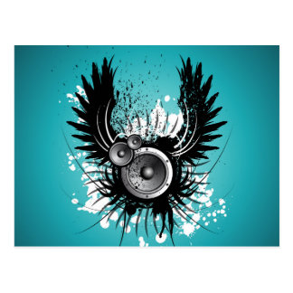 music illustration with speaker and wings postcard