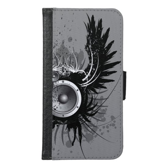 music illustration with speaker and wings wallet phone case for samsung galaxy s6