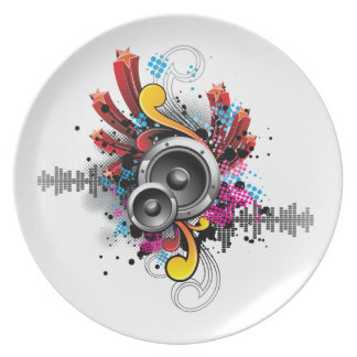 music illustration with speakers and design elemen plate