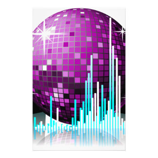 music illustration with speakers and disco ball stationery