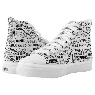 Music in Different Languages High-Top Sneakers