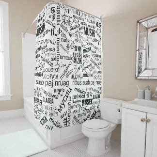 Music in Different Languages Shower Curtain. Abstract Music Shower Curtains   Zazzle