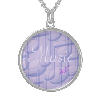 Music in Purple Sterling Silver Round Necklace