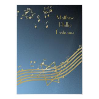 Music In The Air Bar Mitzvah 7.5 5.5x7.5 Paper Invitation Card