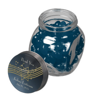 Music in the Air Bar Mitzvah Glass Candy Jar